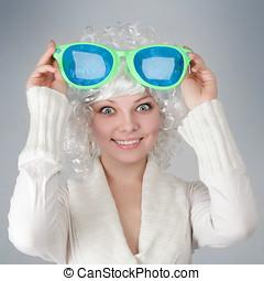Girl with big glasses