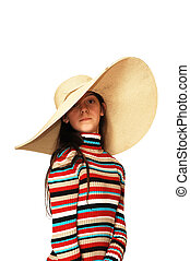 Girl with big hat.