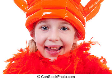 Girl with big orange crown