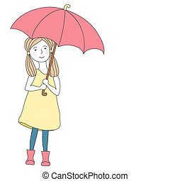 Girl with big red umbrella
