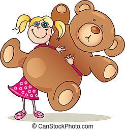 Girl with big teddy bear