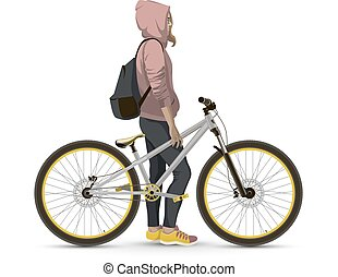 Girl with bike. - Girl with MTB bike. On a white background...