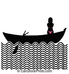 girl with bikini in boat silhouette illustration