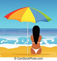 girl with bikini on beach illustration