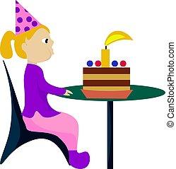 Girl with birthday cake, illustration, vector on white background.