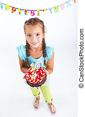 Girl with birthday cake