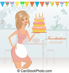 girl with birthday cake with candles