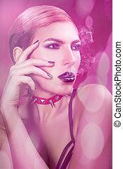 Girl with black lips