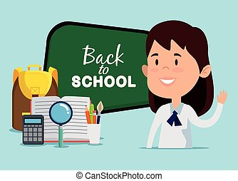 girl with blackboard and backpack with magnifying glass