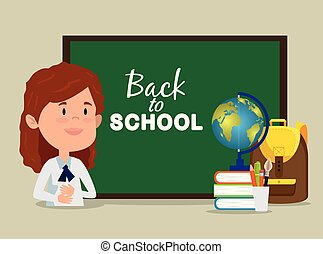 girl with blackboard and books and backpack and global map
