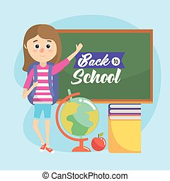 girl with blackboard and books with global map