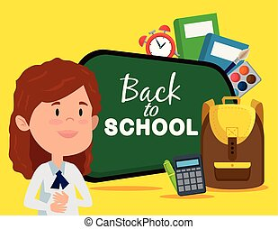 girl with blackboard and calculator with books and clock alarm