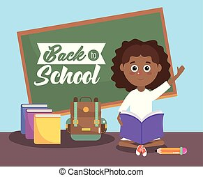 girl with blackboard and education books and backpack