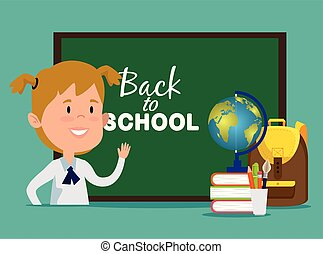 girl with blackboard and global map with books and backpack