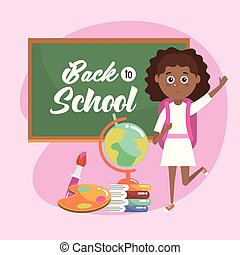 girl with blackboard and global map with books