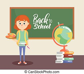 girl with blackboard and palette with painbrush supplies