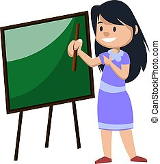 Girl with blackboard, illustration, vector on white background.