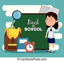 girl with blackboard with magnifying glass and book with clock