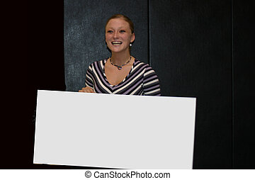 Girl with Blank Sign