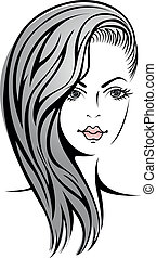 girl with blond hair - Glamour sketch of beautiful sexy ...