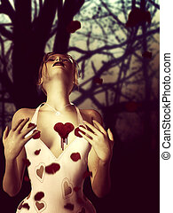 Girl with bloody heart
