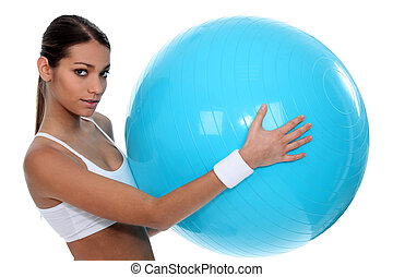Girl with blue ball