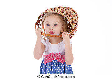 girl with blue eyes  a basket on her head