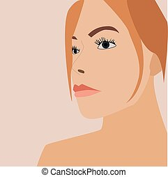 Girl with blue eyes, illustration, vector on white background.