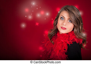 Girl With Blue Eyes On Red Christmas Background