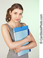 Girl with blue folders