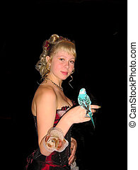 Girl with blue parrot