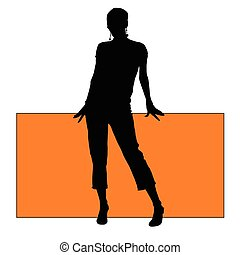 girl with board silhouette illustration