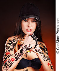 Girl with body art. - Young woman with body art .