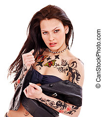 Girl with body art. - Young woman with body art . Isolated.