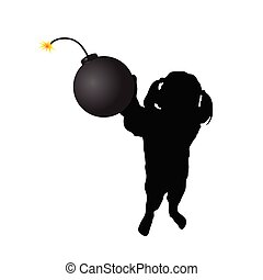girl with bomb vector
