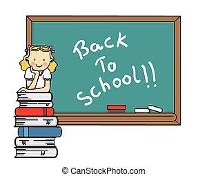 girl with books and blackboard
