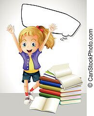 Girl with books and speech bubble
