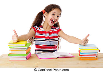 Girl with books and thumbs up sign