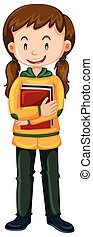 Girl with books on white background