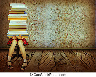 Girl with books sitting on wood floor in old dark room. Grunge collage background
