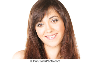 Girl with brown hairs photo over white with copyspace