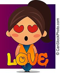 Girl with brown ponytail is in love illustration, vector on white background.