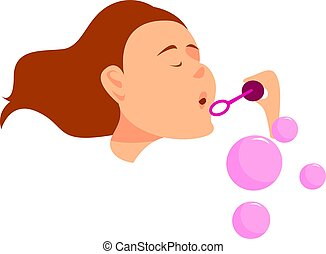 Girl with bubbles, illustration, vector on white background.