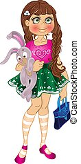 girl with bunny and bag