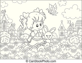 Girl with Bunny and Butterfly
