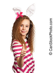 Girl with bunny ears