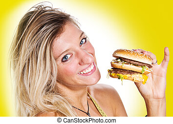 girl with burger in hand