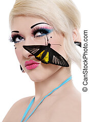 Girl with butterfly - Beautiful blond sexy girl with bright...
