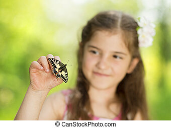 Girl with butterfly