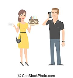 Girl with cake and man with phone